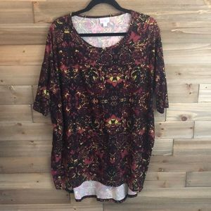 ❤️ Lularoe Red/Lime Green Floral Tunic Size L ❤️